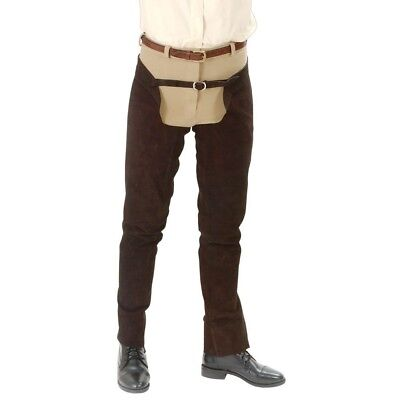 Tough-1 Suede Leather Schooling Chaps with Full Length Heavy Duty Zipper
