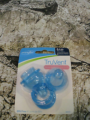 Baby Bottle Nipples Evenflo TruVent 6+M Fast Flow New