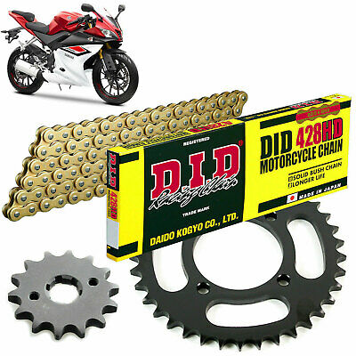 Yamaha YZF-R 125  2015 DID Gold X Ring Chain and Sprocket Kit Set