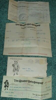 1911 Quaker Oats Cereal Company Cover Letter/invoice And Check