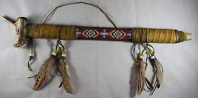 """Beaded Cherokee Peace Pipe Handcrafted by Bright Sky Decorative (18.5""""x3"""")"""