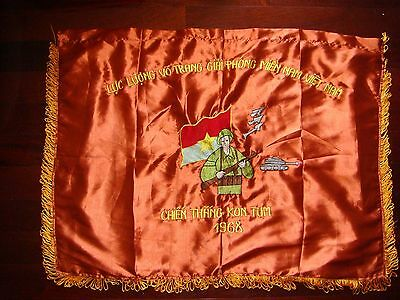 "Vietnam War Vc Satin Flag "" Victory At Kontum Year 1968 """
