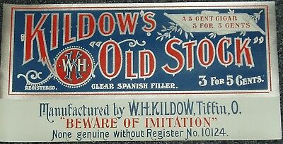 KILDOW'S OLD STOCK CIGAR SIGN COUNTRY STORE GENERAL STORE ORIGINAL 1890's