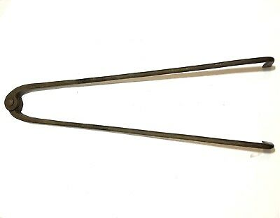 "Primitive Antique 21"" Long Pig Iron Fireplace Hearth Tongs Mantle Tool Cooking"