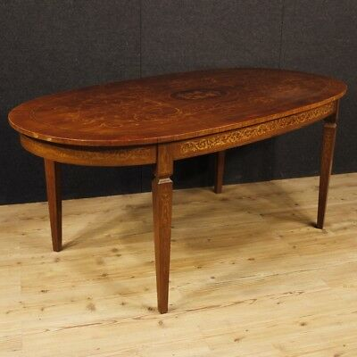 Dining table inlaid furniture living room antique style louis XVI wooden 900