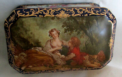 Vintage Hand Painted Jewelry Casket/Trinket Box French Sevres Style Jewelry Ash