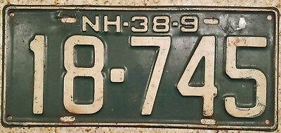 1938  1939  New Hampshire Nh License Plate # 18-745 Large Size