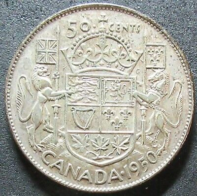 1950 Canada No Lines In Zero Silver Fifty Cent Coin
