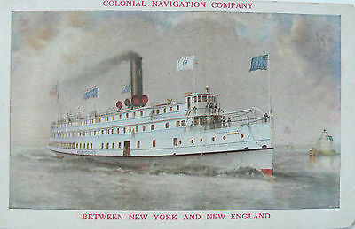 Vintage Postcard.ss Concord.colonial Shipping Co.official Card. N.y.& N.e