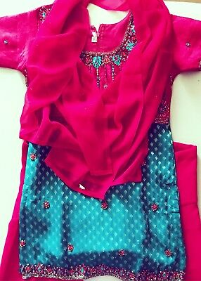 NEW Girls Size S (8/10) Ethnic Indian 3-Piece 100% Silk Beaded Bollywood Outfit
