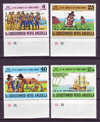 St. Kitts-Nevis 1973; Visit Of Prince Charles;complete Set Of 4;sc # 266-269;mnh
