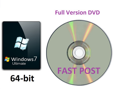 Windows 7 Ultimate 64-Bit Bootable Installation DVD Full Version SP1 Disc CD