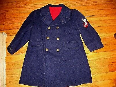CHILDS VINTAGE 1940s NAVY BLUE WOOL MILITARY STYLE (US NAVY) DRESS OVERCOAT