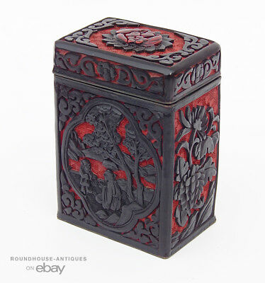 Antique Chinese Republic Period Red & Black Overlay Carved Cinnibar Box