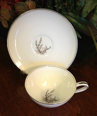 "NORITAKE ""Candice"" Cup & Saucer Set White Porcelain Tan/ Platinum Trim #177732"