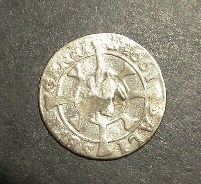 Post Medieval Silver Coin 1661 Knight Cross Antique Colonial Dime Size Lot Latin