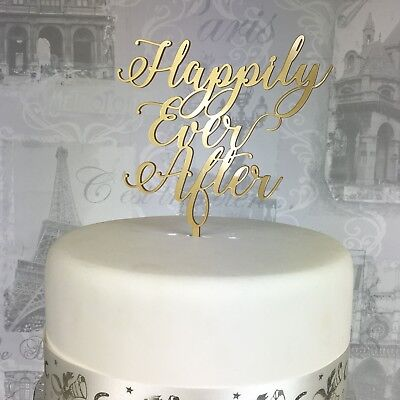 Wedding cake topper Happily Ever After acrylic engaged 19 COLOURS  UK MADE