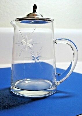 Antique Etched Crystal Creamer W/ Sterling Silver Top Watson Company 1910