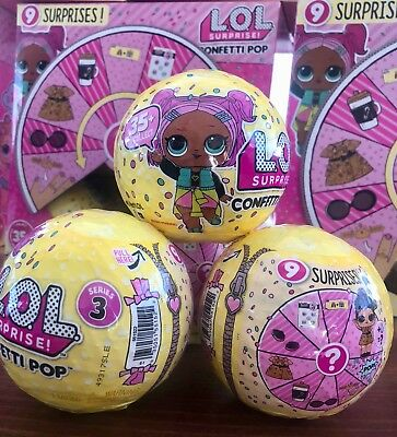 Authentic MGA LOL Surprise Doll -Confetti Pop- Series 3   ***1 BALL***