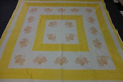 1940's Quilt- 74x78-EMBROIDERED FLOWER BASKETS-Yellow/Cream-Ornate Quilting-SALE
