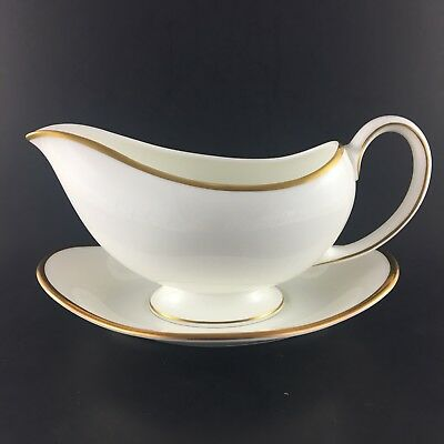Wedgwood California Gravy Boat With Under Plate Bone China Gold Verge Trim Eng