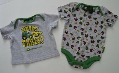 John Deere 3-6 Month Shirt Bodysuit Ready Set Farm Tractor Barn Corn Gray Green