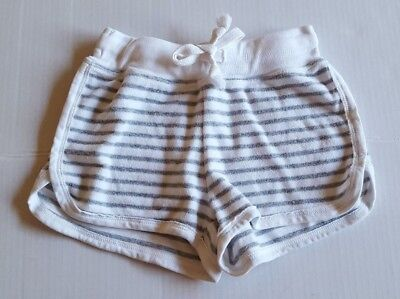 T2 Love Girl's Shorts French Terry White And Grey Stripe Size 8