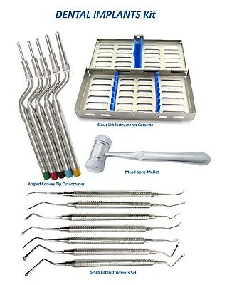 Dental implant Kit Convex Tip Osteotomes,Sinus Lift instrument Set 7,bone Mallet