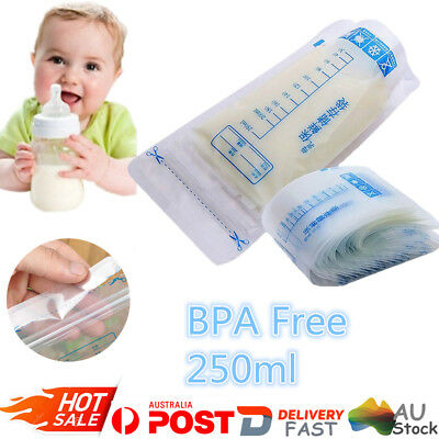 50Pcs BPA Free 250ml Pre-sterilised Baby Breast Milk Storage Freezing Bags Pouch
