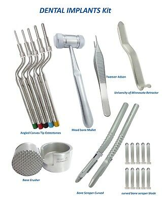 Dental implant Kit bone Mallet,Convex Tip Osteotomes, Bone Crusher Scraper,Adson