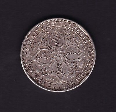 1904 Straits Settlements One Dollar Silver Coin