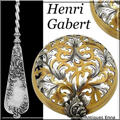 Gabert Fabulous French Sterling Silver 18K Gold Sugar Sifter Spoon Rococo