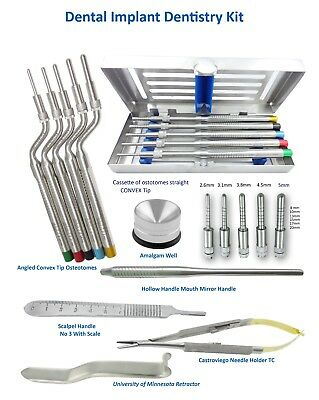 Dental implant Kit Osteotomes Angled & str Convex tip, Castroviego, Minnesota