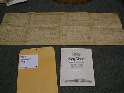 1956 Bally KEY WEST Bingo Operating Instructions Manual & Schematic