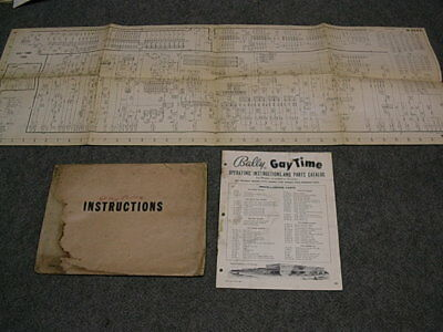 1955 Bally GAY TIME Bingo Operating Instructions Manual & Schematic