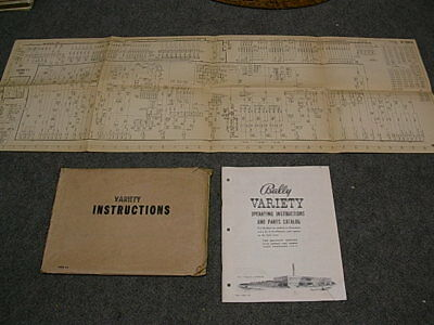 1954 Bally VARIETY Bingo Operating Instructions Manual & Schematic
