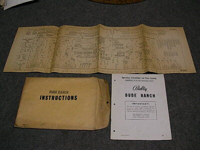 1953 Bally DUDE RANCH Bingo Operating Instructions Manual & Schematic