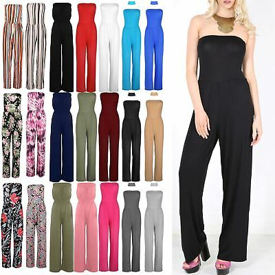 Women Ladies Sexy Bandeau Boob Tube Strapless Wide Leg Palazzo Playsuit Jumpsuit