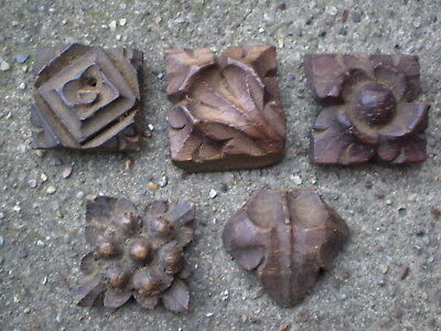Five Small Square Vintage Carved Oak Square Sections