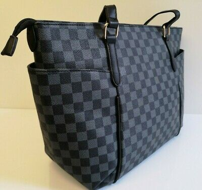 Women Leather Style Quality Shoulder Handbag Ladies Designer Checkered Tote Bag