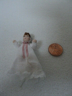 Dollhouse Porcelain Doll- Baby In Gown/br. Hair