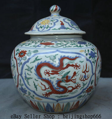 "10"" Wanli Marked Old Chinese Wu Cai Porcelain Palace Dragon Lids Pot Jar Crock"