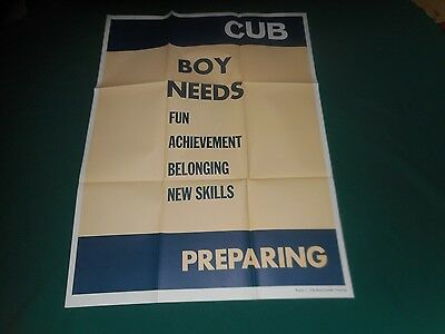 "Set of 4 Vintage Cub Boy Scouts Training Posters ~ 25"" x 33"" Posters #1-4 MINTY!"