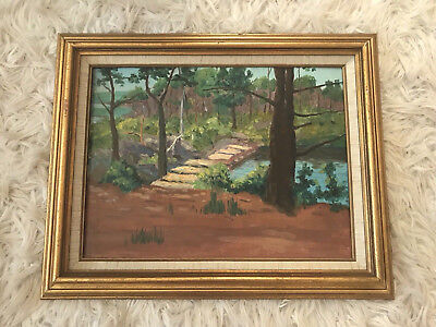 Nice Vintage Landscape Scene River In Forest With Bridge Painting Oil On Board
