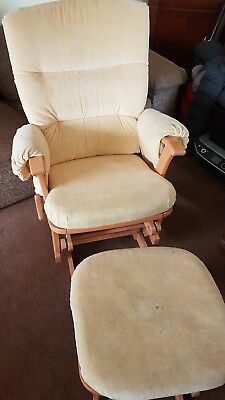 Yellow Nursing / Rocking chair and footstool