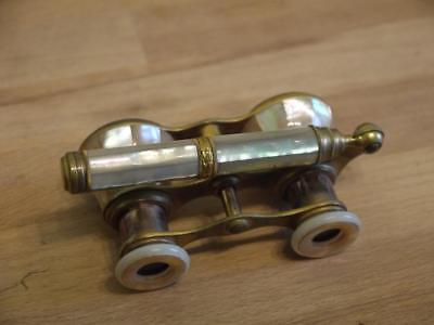 Superb Antique/vintage Brass & Mop Mother Of Pearl Opera Binoculars With Handle