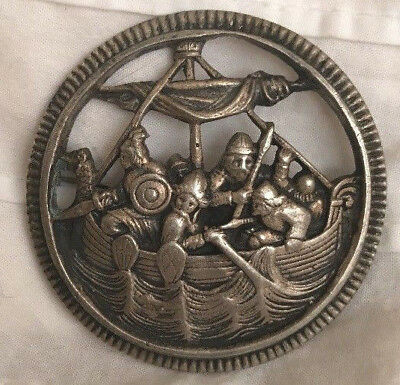 David Andersen Rare Antique Norway 830S Silver Brooch Vikings