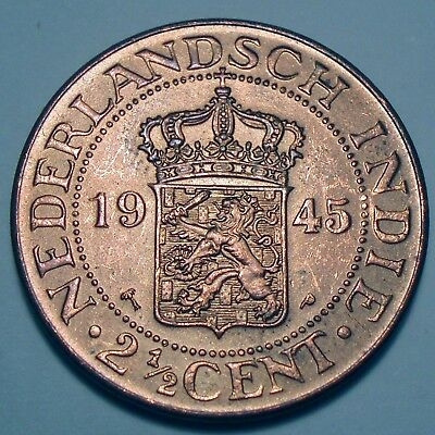 NETHERLANDS EAST INDIES 2-1/2 CENTS 1945 P Philadelphia Mint K8.4