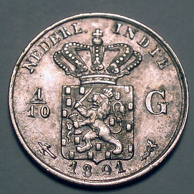 NETHERLANDS EAST INDIES 1/10 GULDEN 1891 Silver K1.4
