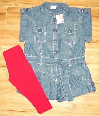 Bnwt Next Girls Denim Shorts Playsuit & Leggings 3 Yrs 2-3 New Red Christmas Top